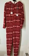 Bearpaw Hooded One-piece Faux Fur Printed Pajamas Holiday Christmas Red Size M