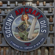 Vintage 1942 Socony Aircraft Oils Standard Oil Company Porcelain Gas And Oil Sign