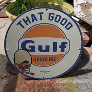 Vintage 1968 Gulf Gasoline Engine Oil Fuel And039that Goodand039 Porcelain Gas And Oil Sign