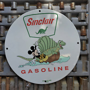 Vintage 1955 Sinclair Gasoline Oil And039and039mickey Mouseand039and039 Porcelain Gas And Oil Sign
