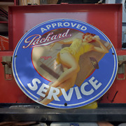 Vintage 1933 Packard Automobile Marque Approved Service Porcelain Gas-oil Sign