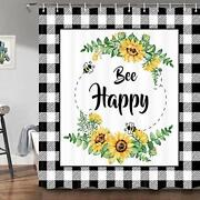 Sunflower Farmhouse Shower Curtain Funny Sweet Quote Bee Happy Black And Whit...