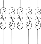 S10 - Wrought Iron Balusters Andndash Set Of 5 Deck Balusters - Decorative Metal For -