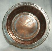 18thc Antique Middle Eastern Armenian Ottoman Copper Bowl Tray - Armenia, Signed