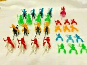 Vintage 46 Plastic Toy Figures Cowboys Vs Indians With Some Horses
