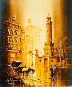 """Lawrence Monier """"old Chicago"""" Impressionist Painting Signed On Canvas"""