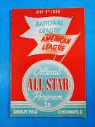 1938 Mlb All-star Game Official Program July 6, Ott, Waner Autos, 3 Others