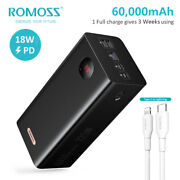 Romoss 60000mah Power Bank 22.5w Pd 4usb External Battery Fast Charger For Apple