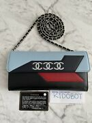 Lambskin Airlines Wallet On Chain Woc Blue Black Red Authentic