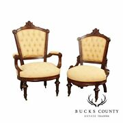 Antique Victorian His And Hers Pair Walnut Armchairs