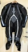 Dainese T-age One-piece Motorcycle Racing Leather Suit Vtg 42 Blk/grey Pd 3305