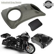 Industrial Gray Denim 8and039and039 Speaker Lids For Advanblack/harley Chopped Tour Pack