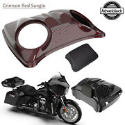 Crimson Red Sunglo 8and039and039 Speaker Lids For Advanblack/harley Chopped Tour Pak Pack