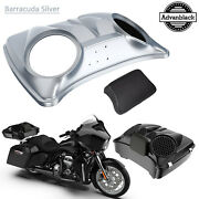 Barracuda Silver 8and039and039 Speaker Lids For Advanblack/harley Chopped Tour Pak Pack