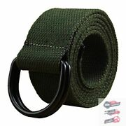 Mens Womens Canvas Belt With Black D-ring Wide Extra Long Solid Waistband New