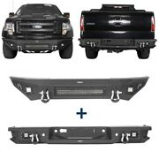Replaced Steel Front Bumper W/ Led Light Bar + Rear Step Bumper For F-150 09-14