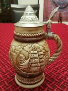 Vintage Avon Sailing Ships Beer Stein Made In Brazil In 1977 With Pewter Lid