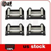 4x Winch Roller Fairlead 4-1/4 4 Way Roller Cable Guide Heavy Duty