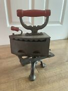 Victorian Antique Vintage Charcoal Iron Clothes Press With Iron Stand