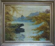 C.conductor Castle Lake Autumn Painting Mirroring Distant Medieval Antique Sign