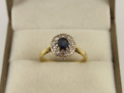 Diamond And Sapphire Halo Ring 18ct Gold Ladies Size L 1/2 750 3.6g Ic88