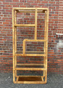 Vintage Mid Century Rattan Wrapped Etagere Bookcase Glass Shelves Can Ship