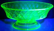 Antique Eapg Diamond Quilted Bryce Brothers Footed Comport Bowl Canary Vaseline