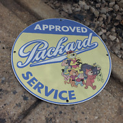 Vintage 1961 Packard Approved Service And039and039top Catand039and039 Porcelain Gas And Oil Pump Sign