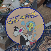 Vintage 1954 Mail Pouch Chew And Smoke Quality Tobacco Porcelain Gas And Oil Sign