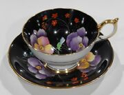 Rare Aynsley Pansy Cup And Saucer Hand Painted Enamel Black Colorway Athens Shape