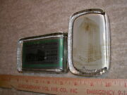 Pair Of Antique Glass Picture Paperweights Black Diamond Coal And Chicago