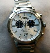 Shinola Bedrock Watch With 42mm Silver Chronograph Face And Silver Breclet
