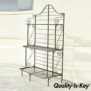 Vintage French Iron And Brass Country Provincial 3 Tier Bakers Rack Stand