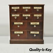 19th Century Mahogany Apothecary Medicine Cabinet W/ 10 Drawers And Glass Pulls