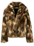 Saint Laurent Menand039s Brown Double-breasted Faux Fur Jacket Brand Size 44