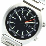 Sinn 240.st Stainless Steel Bracelet Day Date Black Dial Menand039s Watch Box And Paper
