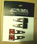 Vintage Rare 4 Pc Jaclyn Smith Geometric Square Shape Hair Clips Accessories Htf