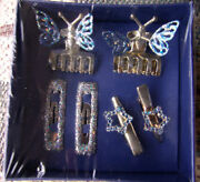 Vintage Rare Bentley Star Silver Plated 6 Pc Clips Claw Hair Set Dressy Gift