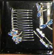 Vintage Rare Bentley Dragonfly 5pc Comb Claw Clips Hair Set Wedding Dressy Gift