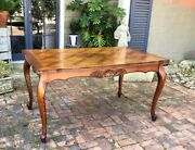 Antique Classic French Oak Table Draw Leaf Parquet Top Shell Carving Scalloped