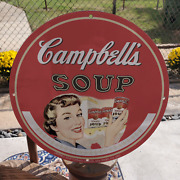 Vintage 1951 Campbell's Condensed Tomato Soup Porcelain Gas And Oil Pump Sign