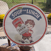Vintage 1940 Campbell's Condensed Tomato Soup Can Porcelain Gas And Oil Sign