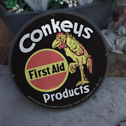 Vintage Conkey's First Aid Poultry Products Porcelain Gas And Oil Pump Sign