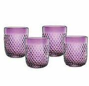 Kathy Ireland Home By Gorham 4 Amethyst Double Old Fashioned Drinking Glass New