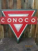 Antique Conoco Gas Station Pole Sign/marquee-repaint Vintage 1930and039s