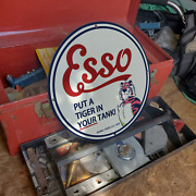 Vintage 1939 Esso And039and039put A Tiger In Your Tankand039and039 Porcelain Gas And Oil Pump Sign