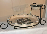 Home And Garden Party 2004 Bird House Stoneware Chip Dip Dish And Bowl Set W/stand
