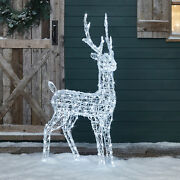 Outdoor Christmas Reindeer Acrylic Stag White Leds Plug In Timer By Lights4fun