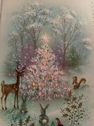 Vintage Christmas Card Forest Animals Birds Christmas Tree Decorations Snow