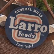 Vintage 1942 Larro Farm Tested Poultry Feeds Porcelain Gas And Oil Pump Sign